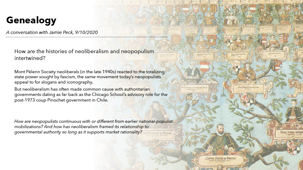 A short description of the genealogy theme in the University of Arizona Sawyer Seminar on Neoliberalism at the Neopopulist Crossroads, against a background image of a hand-painted 15th century family tree.