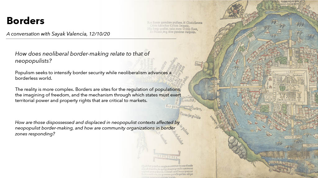 Short description of the Borders theme in the University of Arizona Sawyer Seminar on Neoliberalism at the Neopopulist Crossroads, against a background image of a colonial-era map of Mexico City.