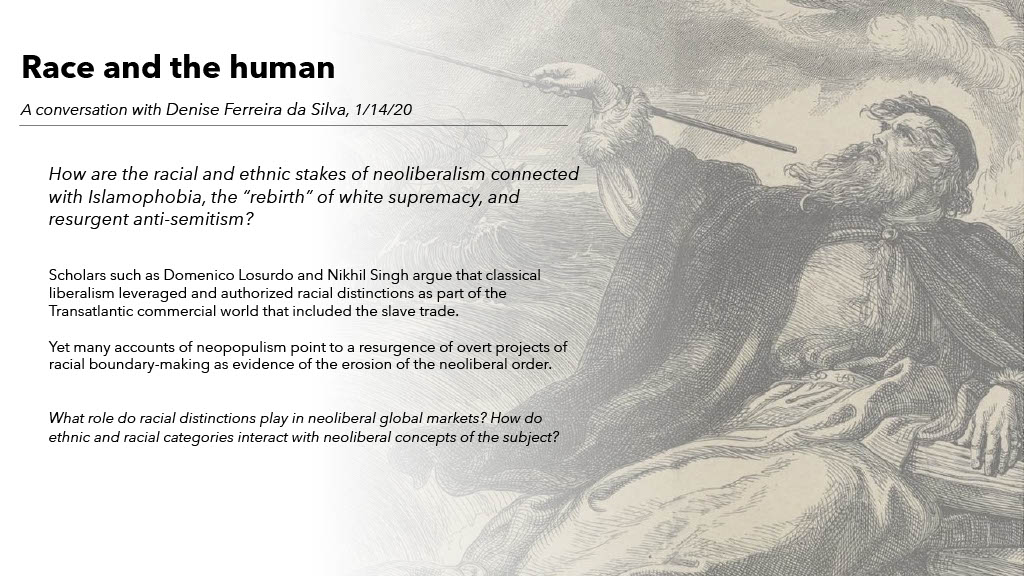 Short description of the Race and the human theme in the University of Arizona Sawyer Seminar on Neoliberalism at the Neopopulist Crossroads, against a background image of Shakespeare's Prospero commanding sea and spirits.